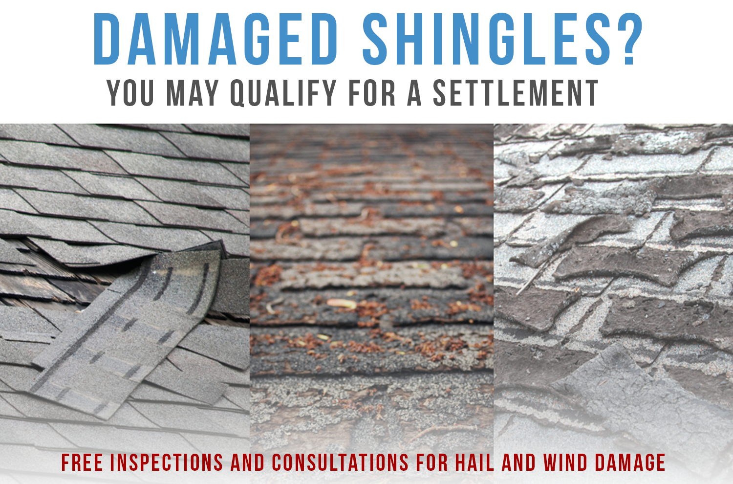 Wind damage to your roof, siding, fences? You may qualify for a settlement and a new roof!