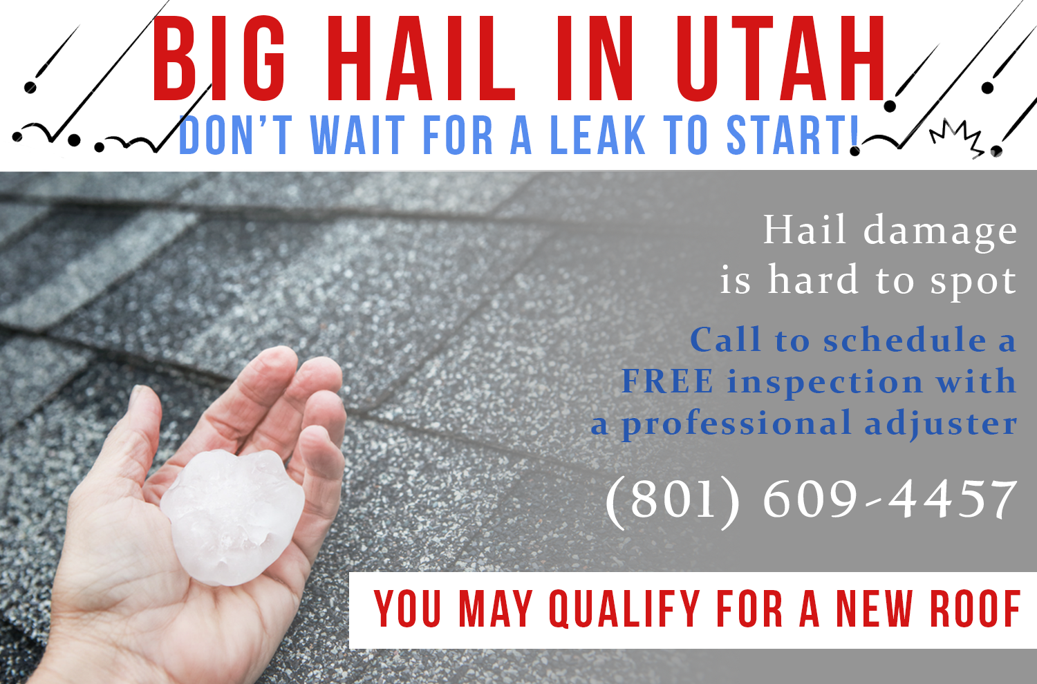 Hail damage to your roof, stucco, gutters? You may qualify for a settlement and a new roof.